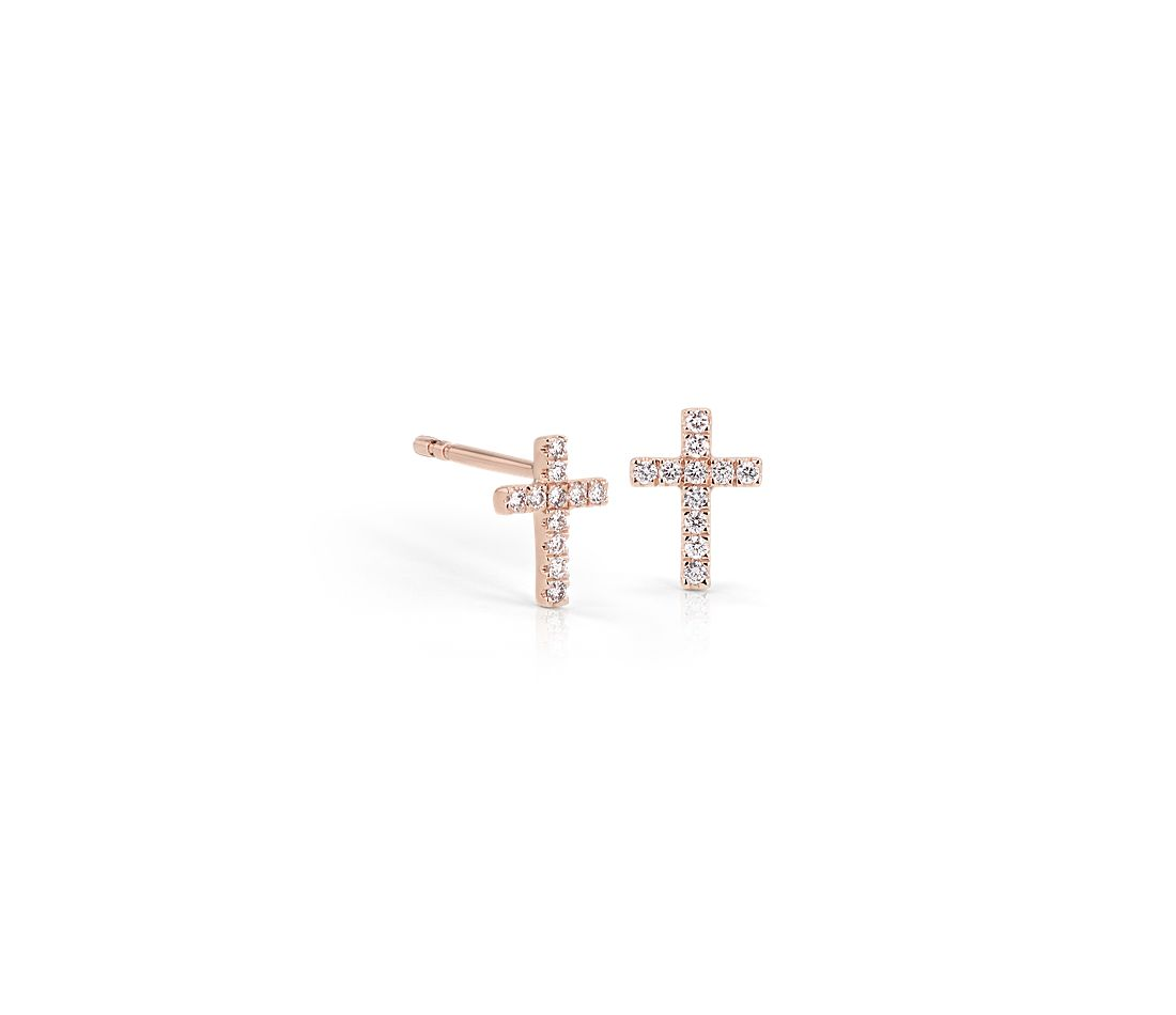Mini Diamond Cross Stud Earrings 14k Rose Gold 1 12 Ct Tw