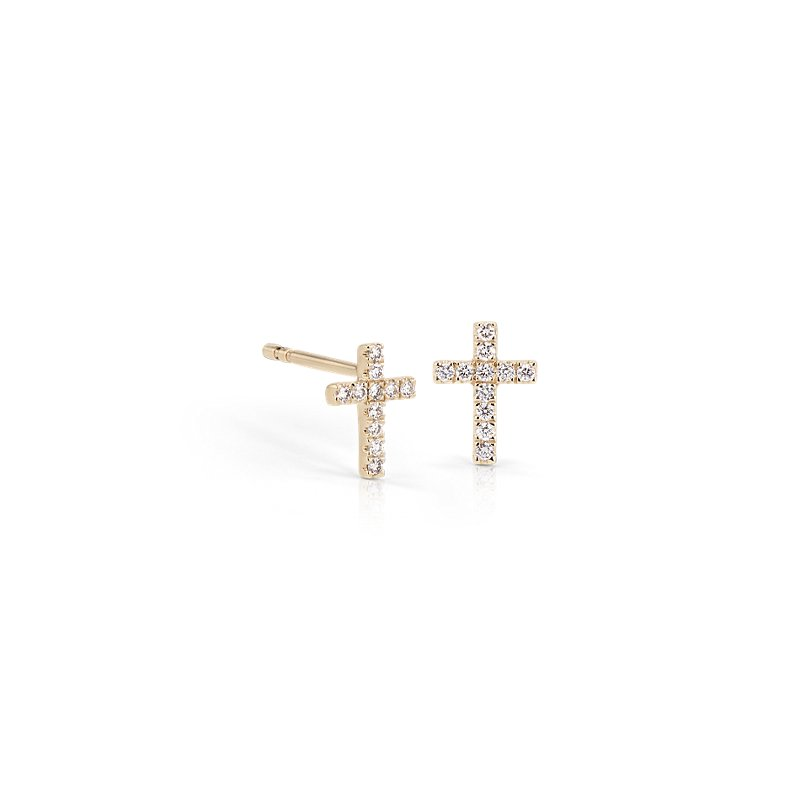 Mini Diamond Cross Stud Earrings 14k Yellow Gold (1/12 ct. tw.)