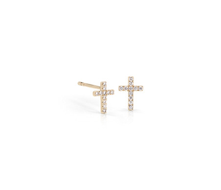 Mini Diamond Cross Stud Earrings 14k Yellow Gold 1 12 Ct Tw