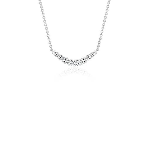 Blue Nile Mini Diamond Curved Bar Necklace in 14k White Gold (1/4 ct. tw.) iFbw6oo