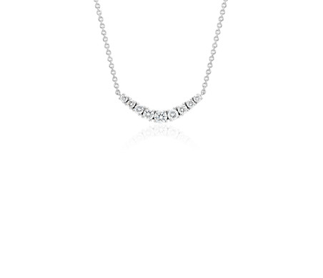 Mini Diamond Curved Bar Necklace in 14k White Gold (1/4 ct. tw.)