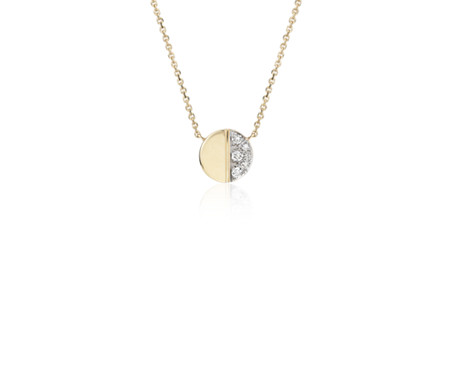 Mini Diamond Disc Necklace in 14k Yellow Gold