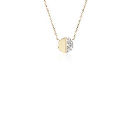 Collar con disco pequeño y diamantes en oro amarillo de 14k