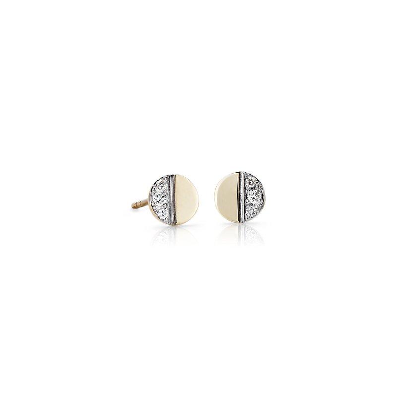 Mini Diamond Disc Stud Earrings in 14k Yellow Gold