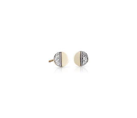Puces d'oreilles petit disque en diamant en or jaune 14carats