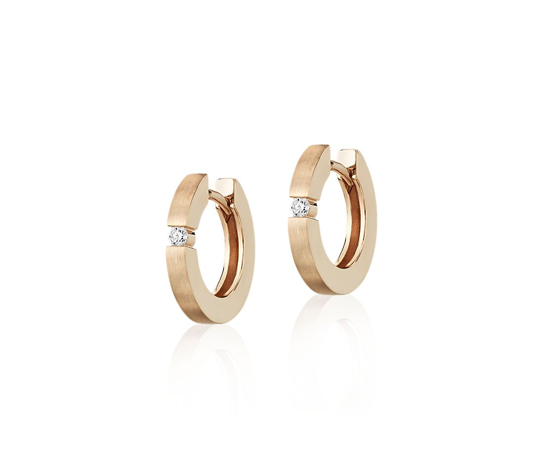 Mini Diamond Dot Brushed Hoops in 14k Rose Gold