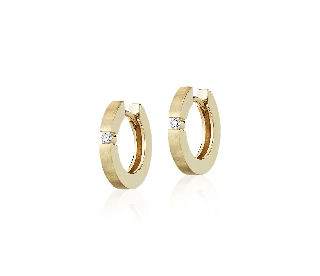 Mini Diamond Dot Brushed Hoops in 14k Yellow Gold