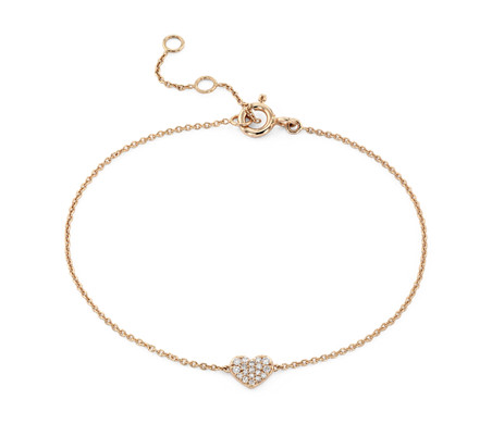Mini Diamond Pave diamond heart Bracelet in 14k Rose Gold