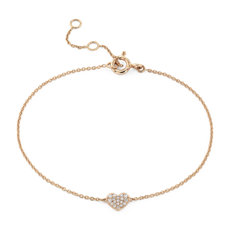 Mini Diamond Pavé Heart Bracelet in 14k Rose Gold