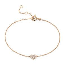 Bracelet petit cœur avec diamants sertis pavé en or rose 14carats