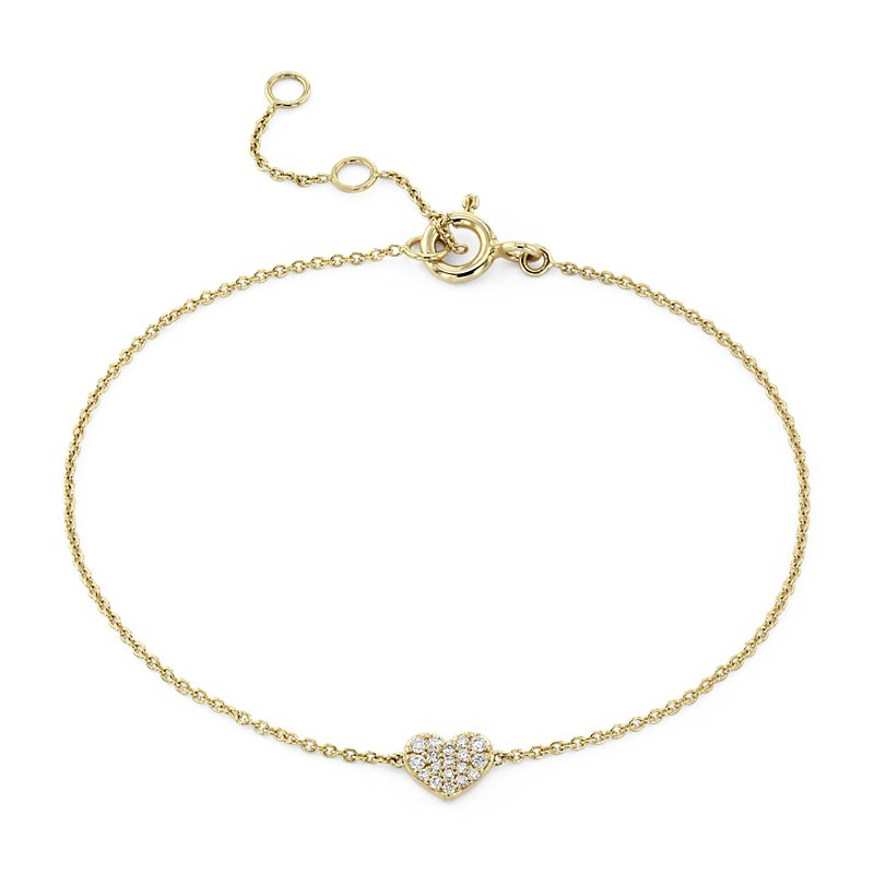 Mini Diamond Pave Heart Bracelet in 14k Yellow Gold