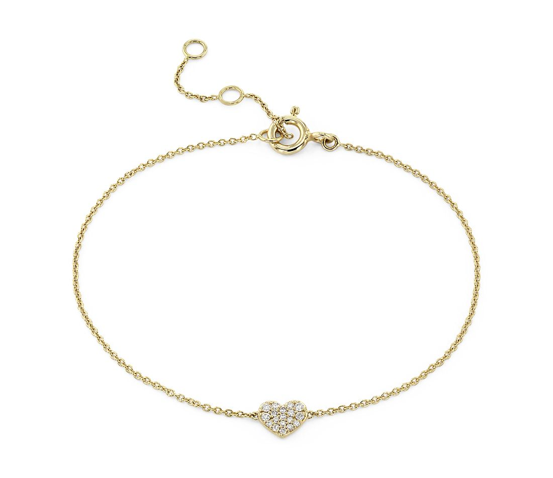 Mini Diamond Pave Heart Bracelet in 14k Yellow Gold