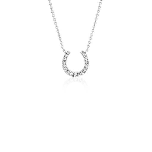 e4349c4db8731 Mini Horseshoe Diamond Necklace in 14k White Gold (1/10 ct. tw.) | Blue Nile