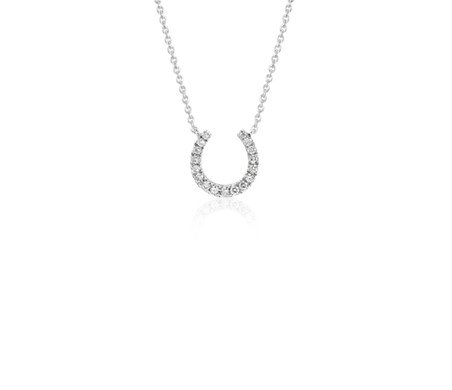 Mini horseshoe diamond necklace in 14k white gold 110 ct tw mini horseshoe diamond necklace in 14k white gold 110 ct tw mozeypictures Gallery