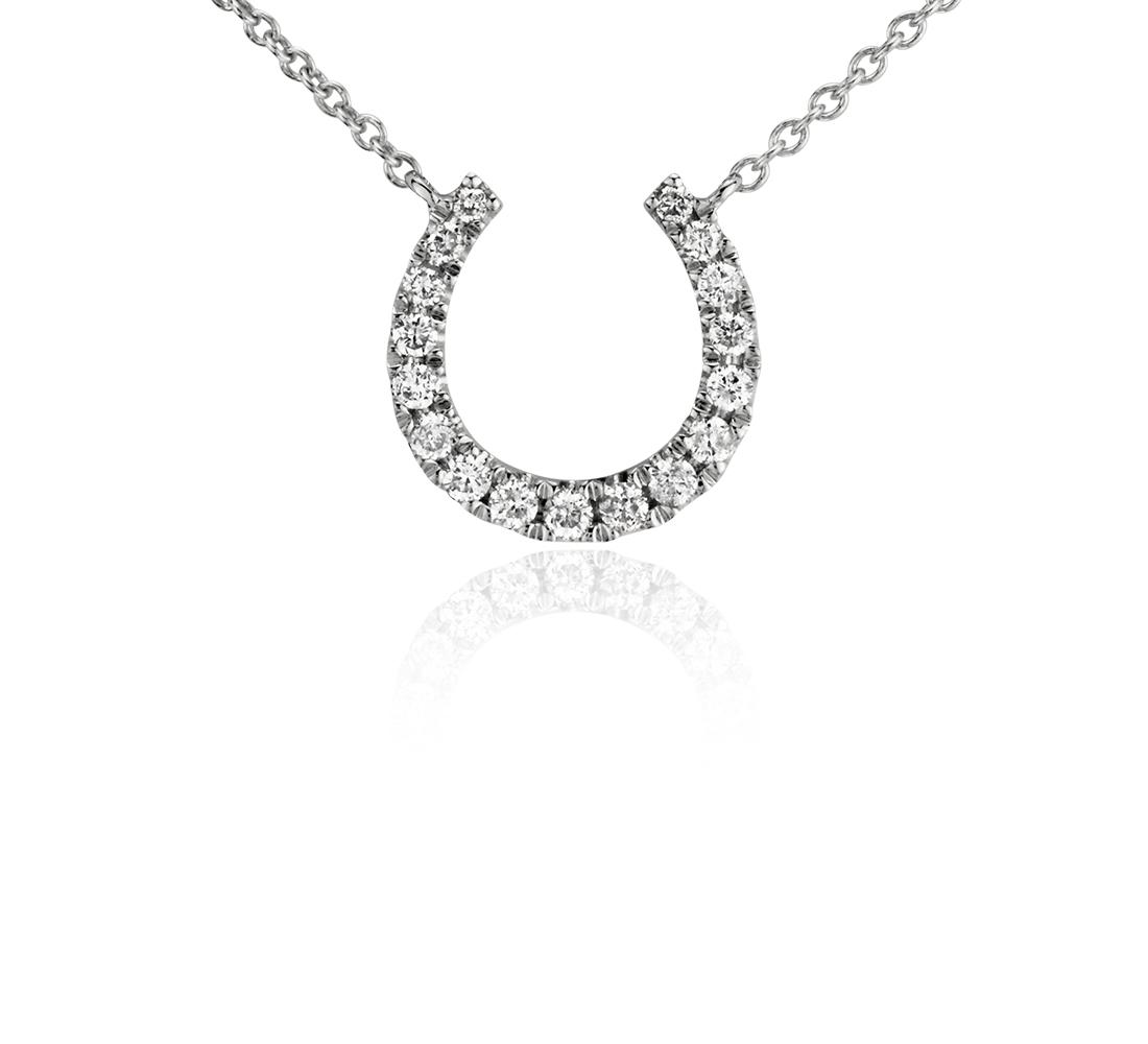 Collar pequeño de diamantes en forma de herradura en oro blanco de 14 k (1/10 qt. total)