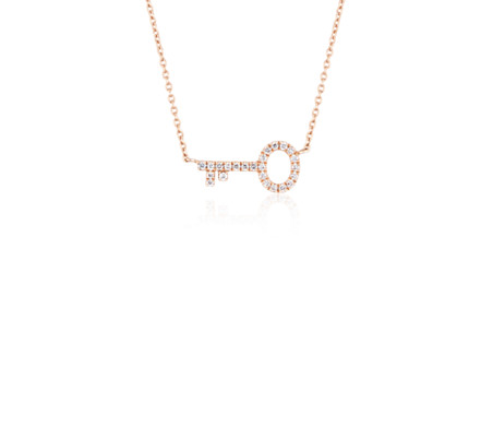 Mini Diamond Key Necklace in 14k Rose Gold (1/10 ct. tw.)