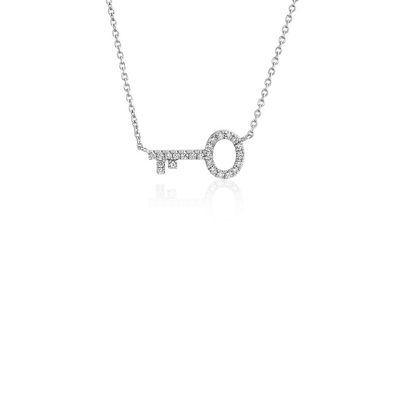 Mini Diamond Key Necklace in 14k White Gold (1/10 ct. tw.)