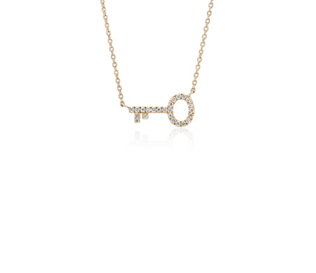 Mini diamond key necklace in 14k yellow gold 110 ct tw blue nile mini diamond key necklace in 14k yellow gold 110 ct tw aloadofball Gallery