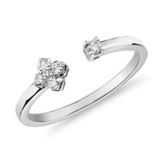 Mini Diamond Open Floral Stackable Fashion Ring in 14k White Gold (1/10 ct. tw.)
