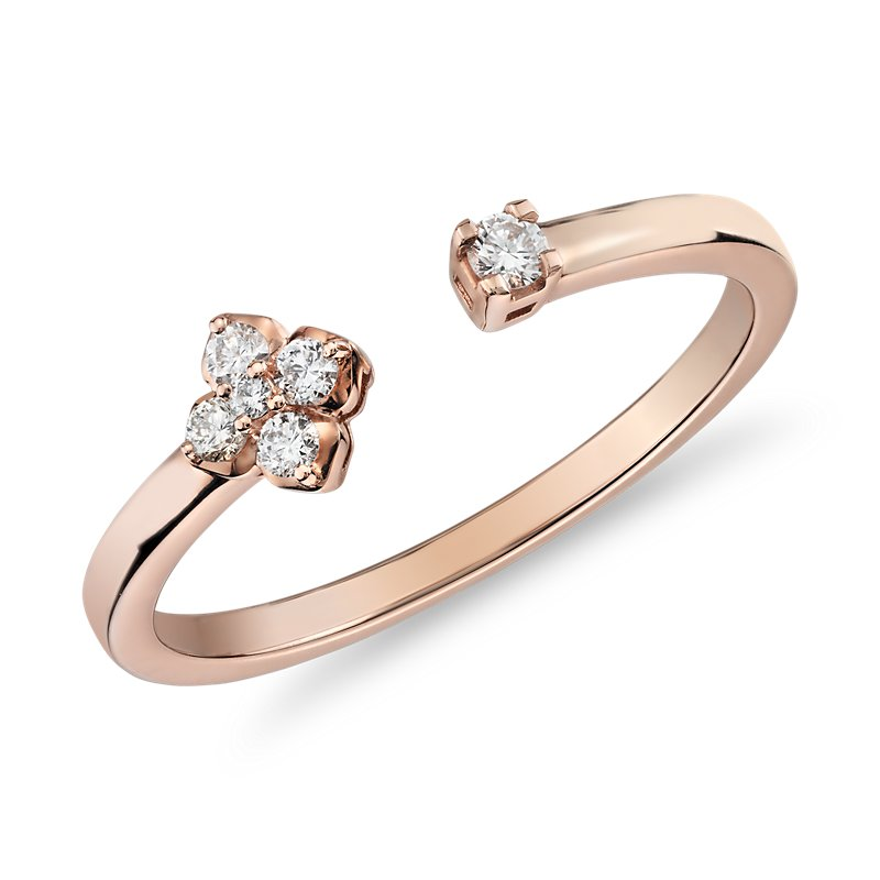 Mini Diamond Open Floral Stackable Fashion Ring in 14k Rose Gold