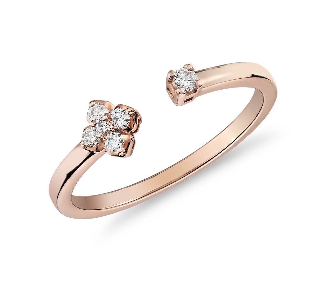 Mini Diamond Open Floral Stackable Fashion Ring in 14k Rose Gold (1/10 ct. tw.)