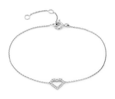 Mini Diamond Open Heart Bracelet in 14k White Gold