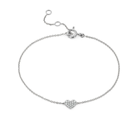 Mini Diamond Pave Heart Bracelet in 14k White Gold