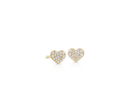 Mini Diamond Pave Heart Earrings in 14k Yellow Gold