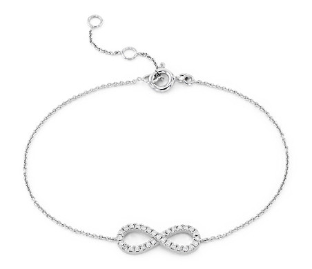 Mini Diamond Pavé Infinity Bracelet in 14k White Gold (1/6 ct. tw.)