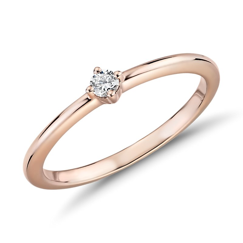 Mini Diamond Stackable Fashion Ring in 14k Rose Gold (1/10 ct. tw