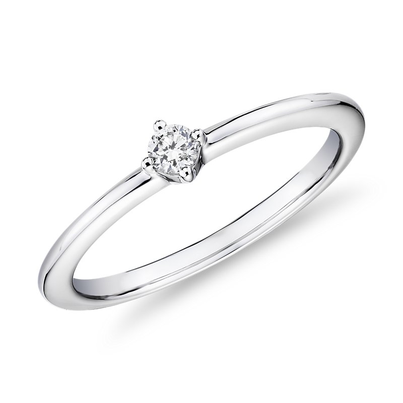 Mini Diamond Stackable Fashion Ring in 14k White Gold (1/10 ct. t