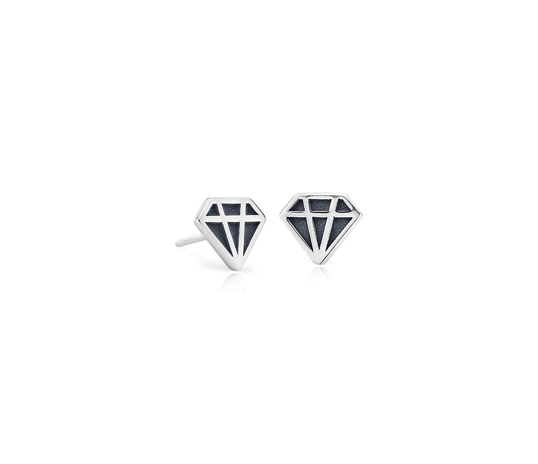 Mini Diamond Shaped Stud Earrings In Sterling Silver