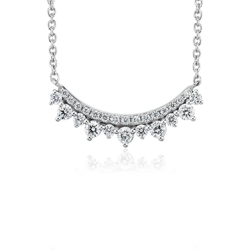Mini Diamond Smile Necklace in 14k White Gold (1/4 ct. tw)