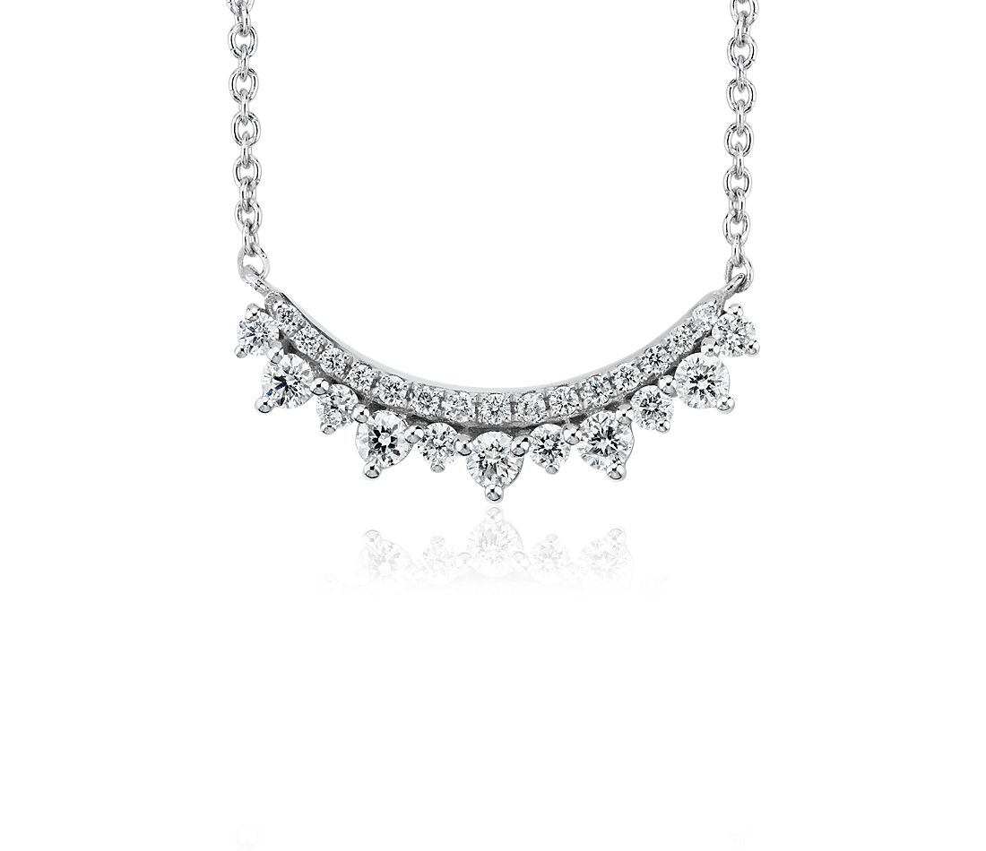 Mini Diamond Smile Necklace in 14k White Gold (0.22 ct. tw)