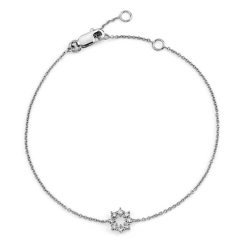 Mini Diamond Snowflake Bracelet in 14k White Gold (1/10 ct. tw.)