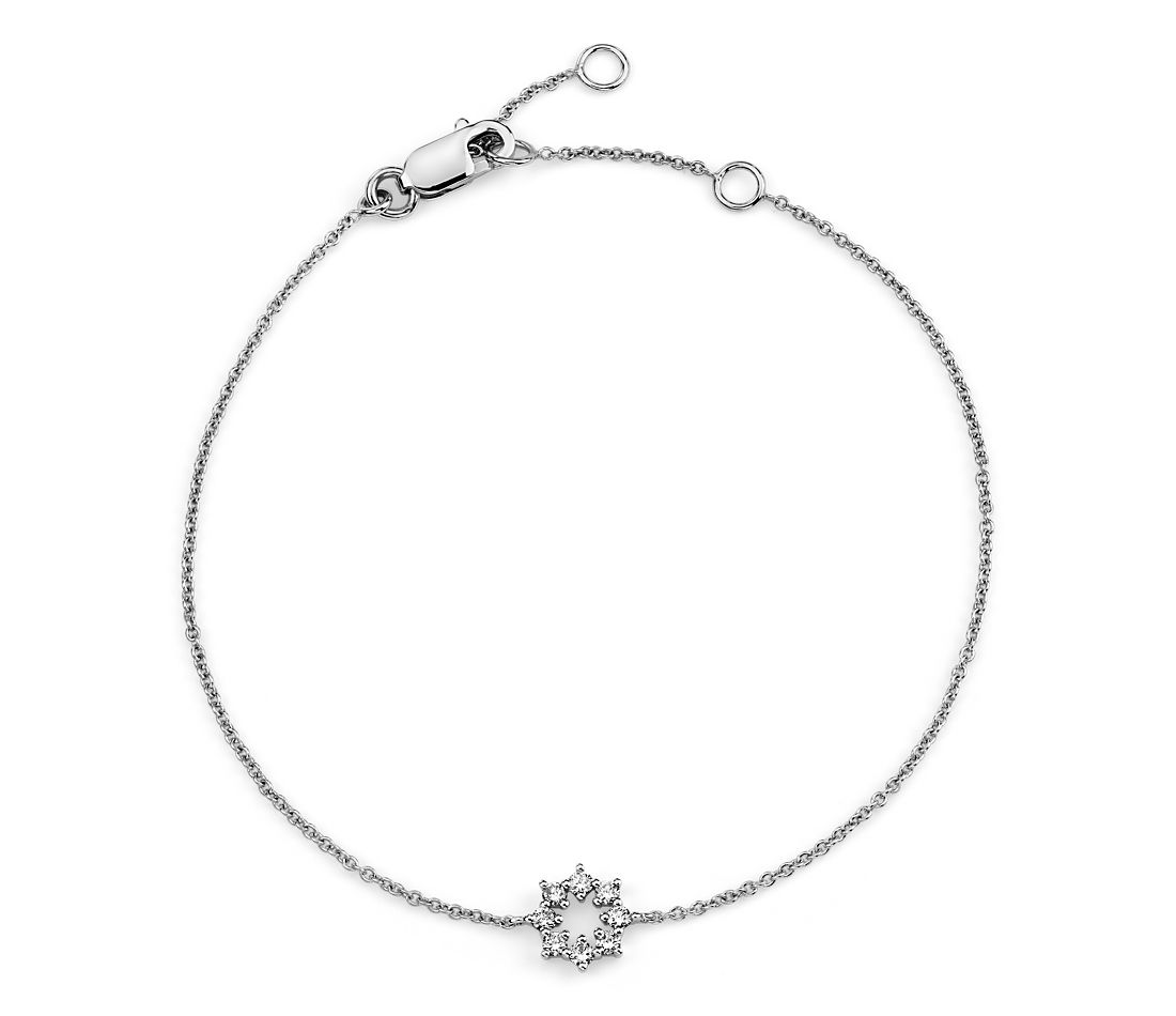 Mini Diamond Snowflake Bracelet in 14k White Gold (1/10 ct. tw.)