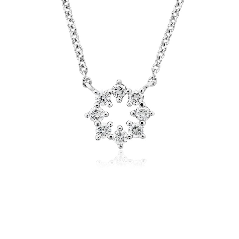Mini Diamond Snowflake Necklace in 14k White Gold (1/10 ct. tw.)