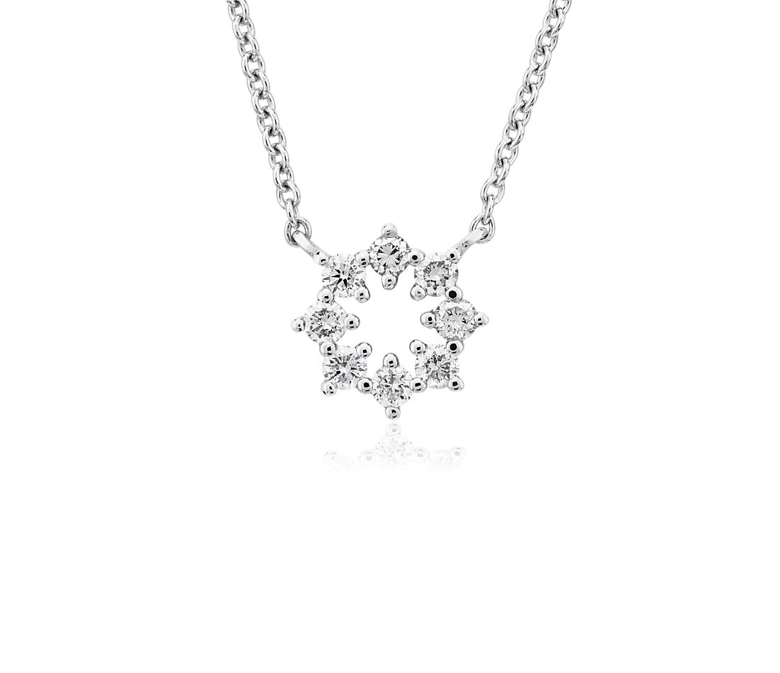 Mini Diamond Snowflake Necklace in 14k White Gold (.09 ct. tw.)