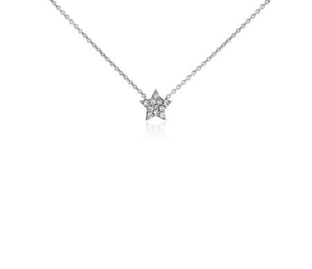 Mini star diamond necklace in 14k white gold blue nile mini star diamond necklace in 14k white gold aloadofball Images