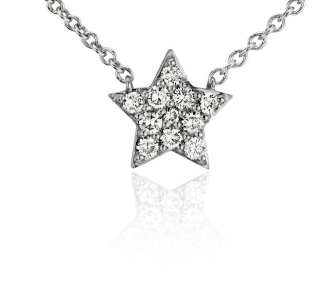 Mini Star Diamond Necklace in 14k White Gold