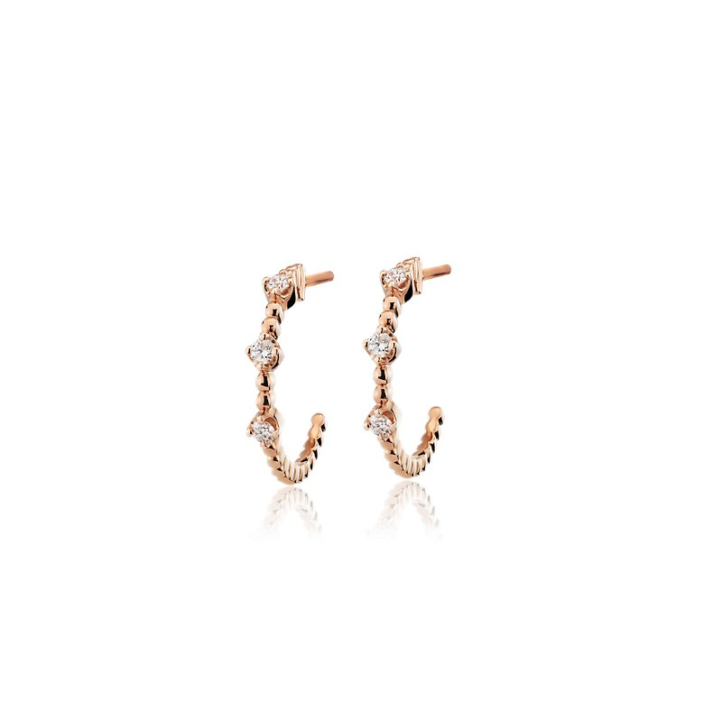 Mini Diamond Three-Stone Beaded Hoop Earrings in 14k Rose Gold