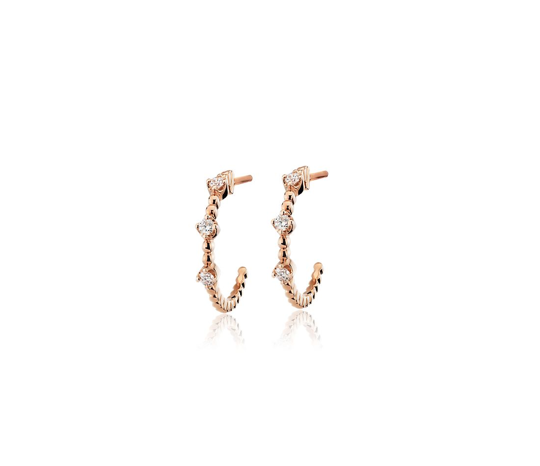 Mini Diamond Three-Stone Beaded Hoop Earrings in 14k Rose Gold