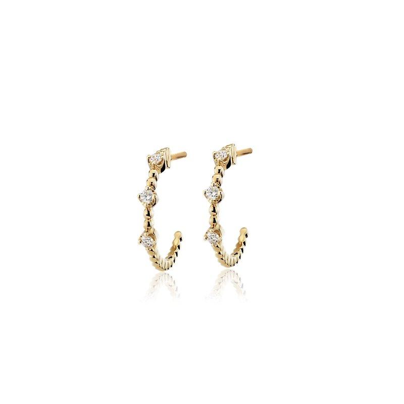 Mini Diamond Three-Stone Beaded Hoop Earrings in 14k Yellow Gold