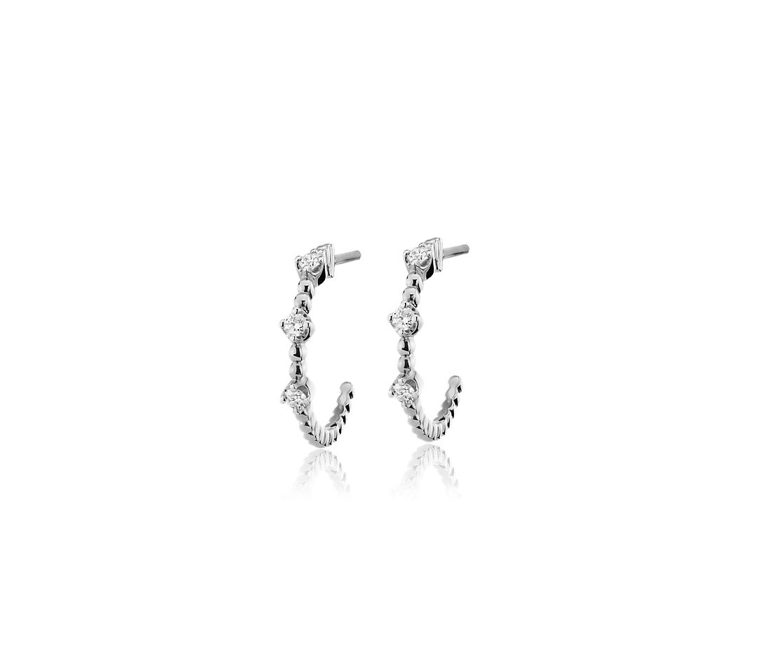Mini Diamond Three-Stone Beaded Huggie Hoop Earrings in 14k White Gold