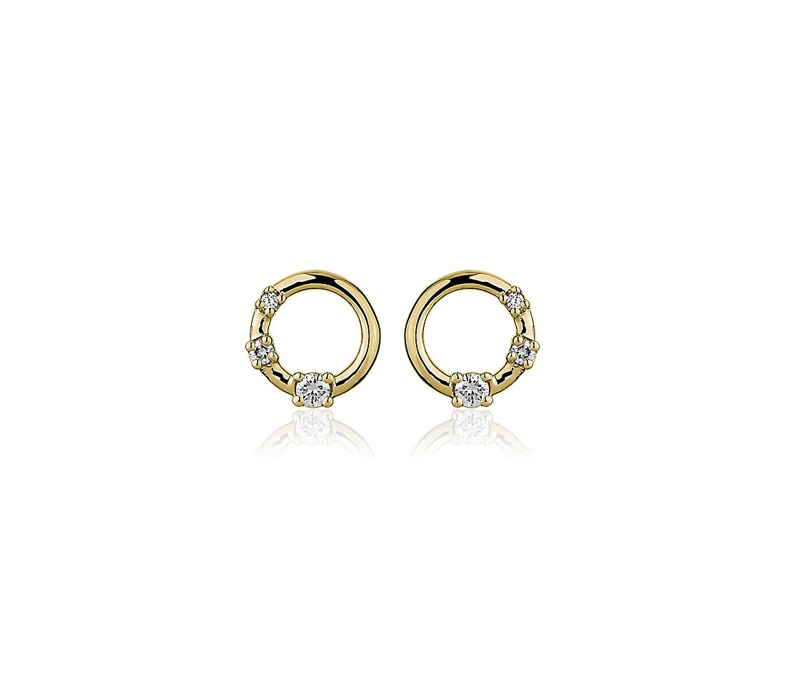 Mini Diamond Three Stone Open Circle Stud Earrings In 14k