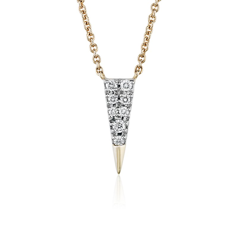 Mini Diamond Triangle Necklace in 14k Yellow Gold