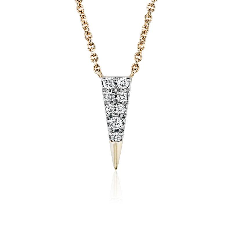 Mini Diamond Triangle Necklace in 14k Yellow Gold