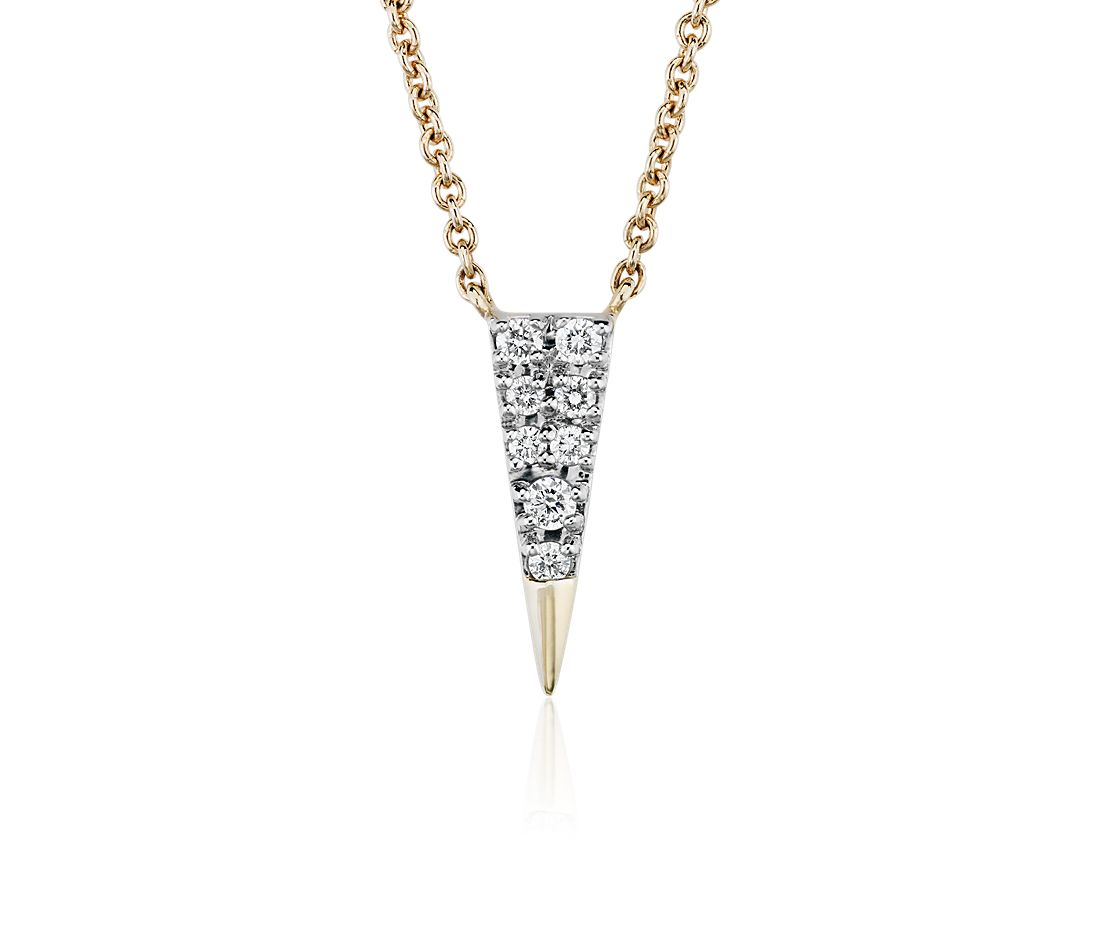 Petit collier diamant triangle en or jaune 14 carats