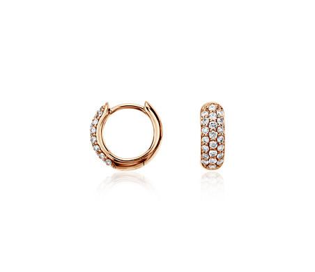 Blue Nile Mini Diamond Pave Hoop Earrings in 14k White Gold (1/3 ct. tw.) bYsB8pPq