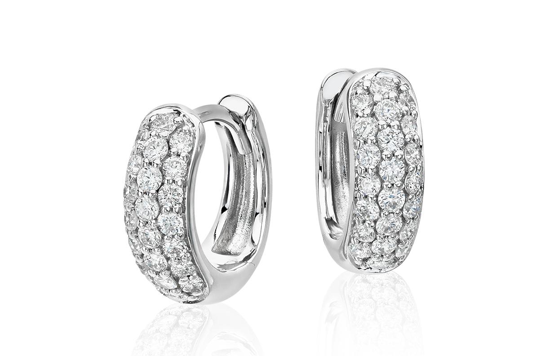Mini-créoles en diamants sertis pavé en or blanc 14carats (1/3carat, poids total)
